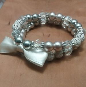 Vintage Beaded Bracelet Set With Attached Bow.